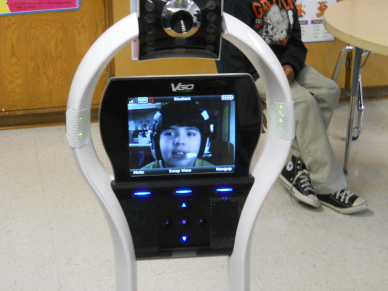 Close-up of Miranda in the robot's video screen.
