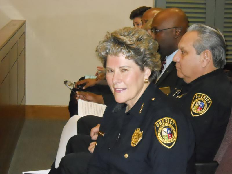 Sheriff Susan Pamerleau waits to give her jail overtime presentation to Bexar Co. Commissioners in Jan. 2013