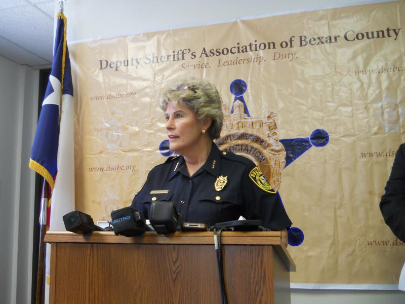 Bexar County Sheriff Susan Pamerleau addresses the press on the start of the new Safe Ride Home Program