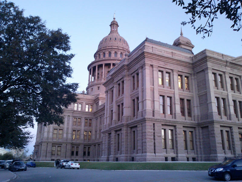 Texas State Capitol in Austin, where legislators and supporters/opponents are debating proposed legislation.