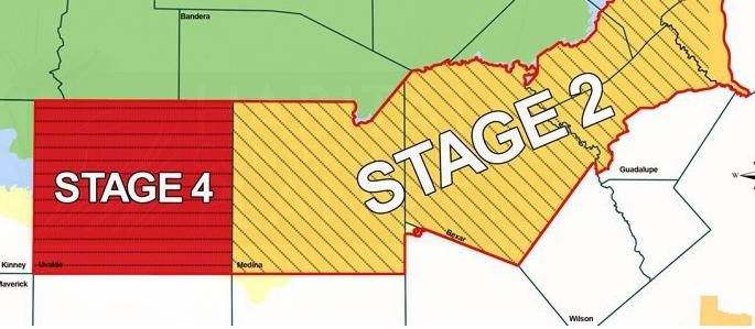 The Uvalde Pool (red) has been moved to Stage 4 pumping restrictions while the San Antonio Pool is at Stage 2.