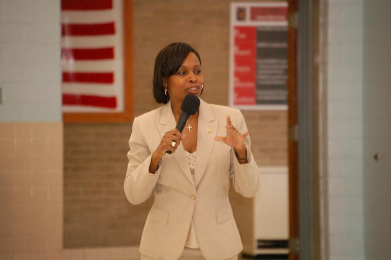 Dist. 2 Councilwoman Ivy Taylor speaks at a community event in her district.