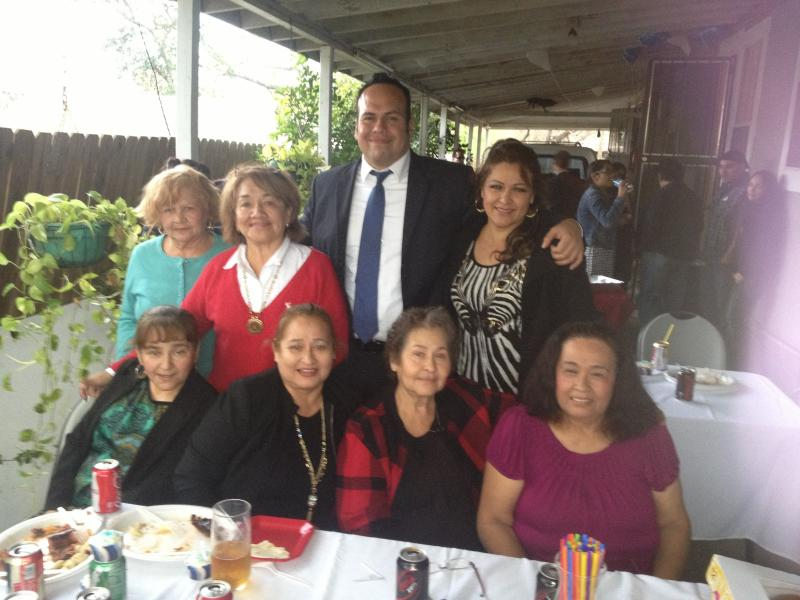 Ricardo Briones with family and friends during his campaign kick-off event.