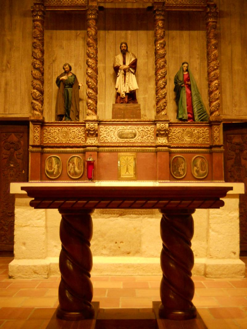 San Juan's new altar. The Victor Salas Family originally built the altar for the San Fernando Cathedral. It was cut down to fit San Juan in this project.