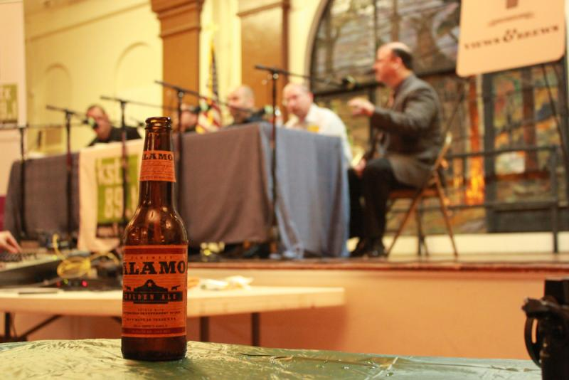 Alamo Beer sponsored this Views and Brews event. Alamo is not considered a 'microbrewery' so their product was available to purchase at the bar.