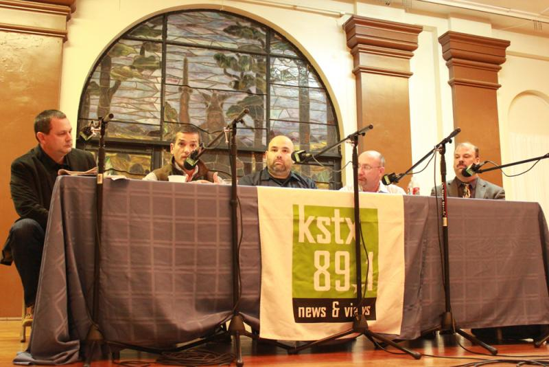 The Views and Brews panel (from left to right): TPR News Director David Martin Davies, Rep. Mike Villarreal, Scott Metzger, Tim Campion, Travis Polling