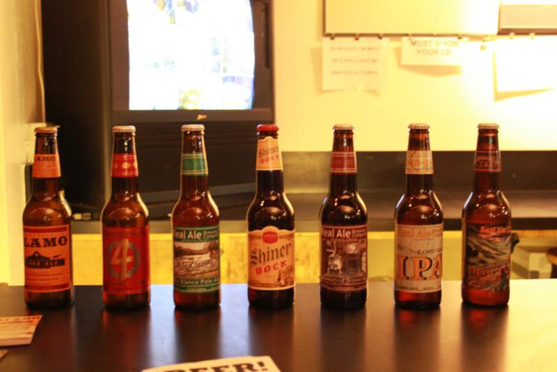 A Texas beer lineup -- for sale at the event -- includes brews from Alamo Beer, Shiner and Real Ale
