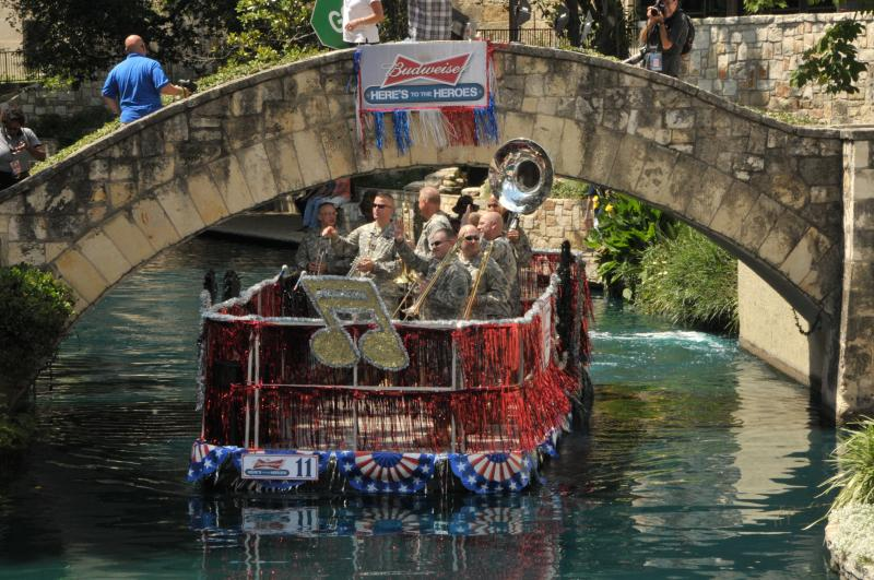 The U.S. Army Band float in the 1st America's Armed Forces River Parade in 2012