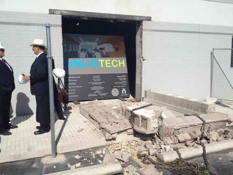 The wall of the precinct one satellite officess were torn out to make an entrance for the BiblioTech