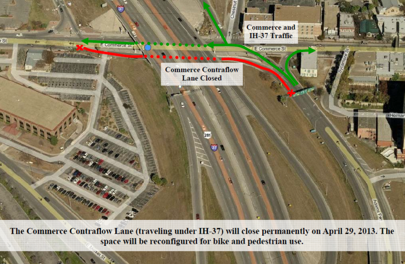 The red line in this image shows the area of Commerce Street that will be converted into a bike and pedestrian lane.