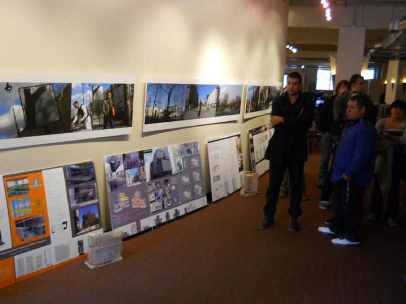 UTSA College of Architecture students listen to jurists reviewing their designs for a struture to replace the historic Wolfson Bldg.