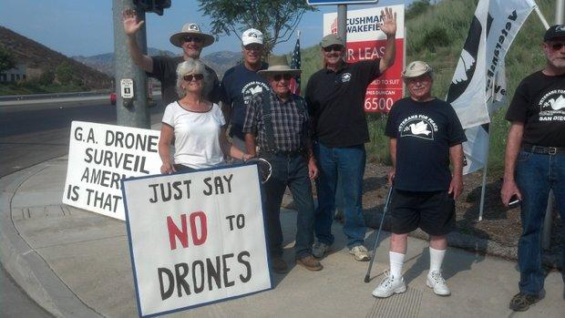 Veterans for Peace demonstrate against using drones for domestic surveillance August 2012.