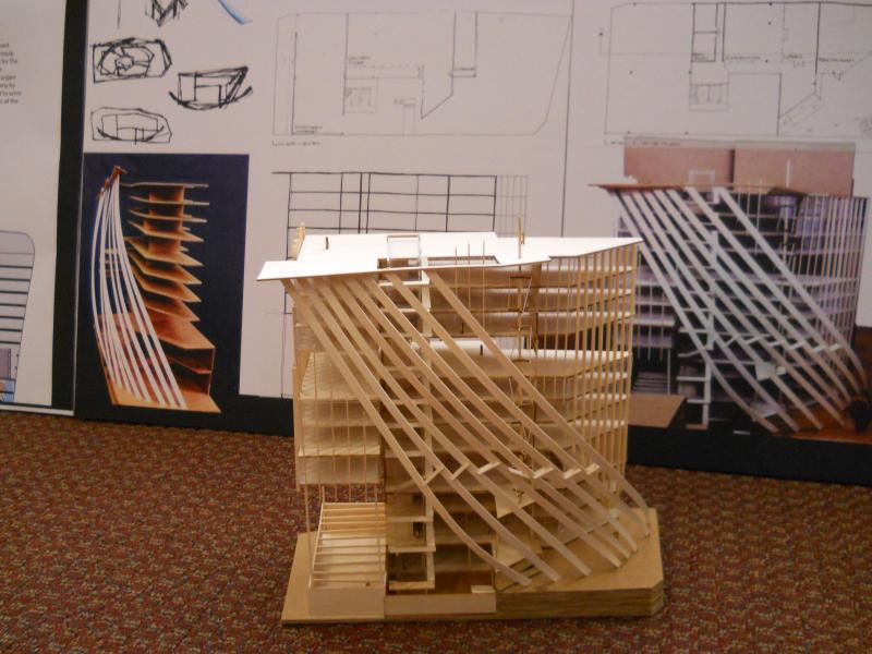 A student's design that includes an outdoor patio with shading from the sun