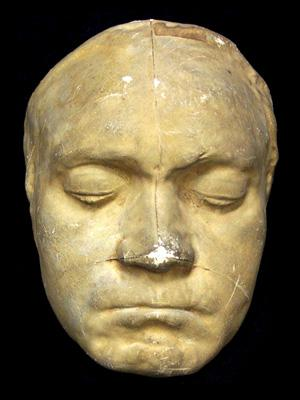 Photo of Beethoven's life mask, made in 1812, 15 years before his death.