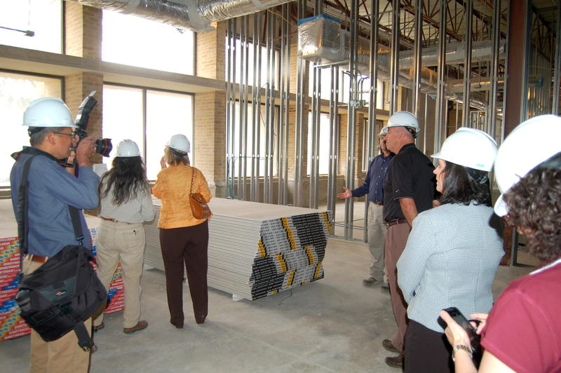 Pre-k Board members look over the learning center campus under construction on the northwest side.