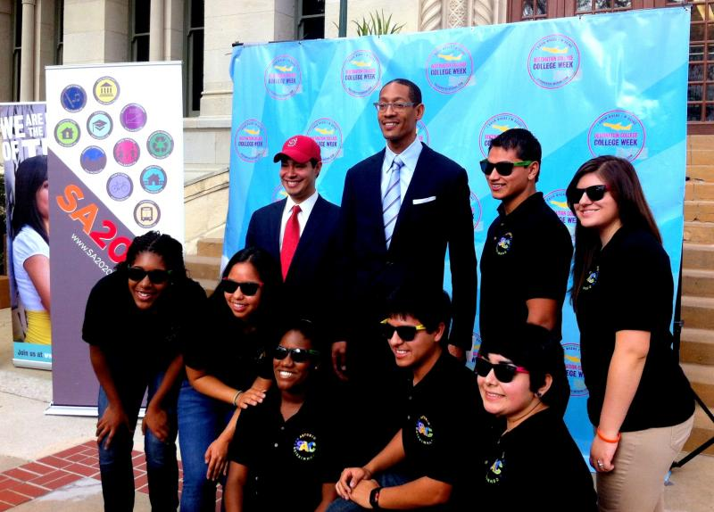 Mayor Julian Castro, SA2020 president Darryl Byrd, and Mark Vargas, chair of the Youth Commission, pose for a picture after the Destination College/College Week Kick-Off