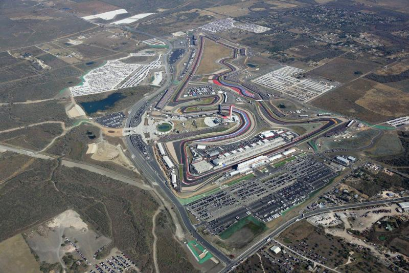 Aerial photo of the Circuit of the Americas in Austin.