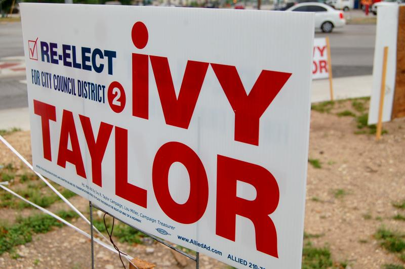 Ivy Taylor's campaign signs can be seen throughout District 2.