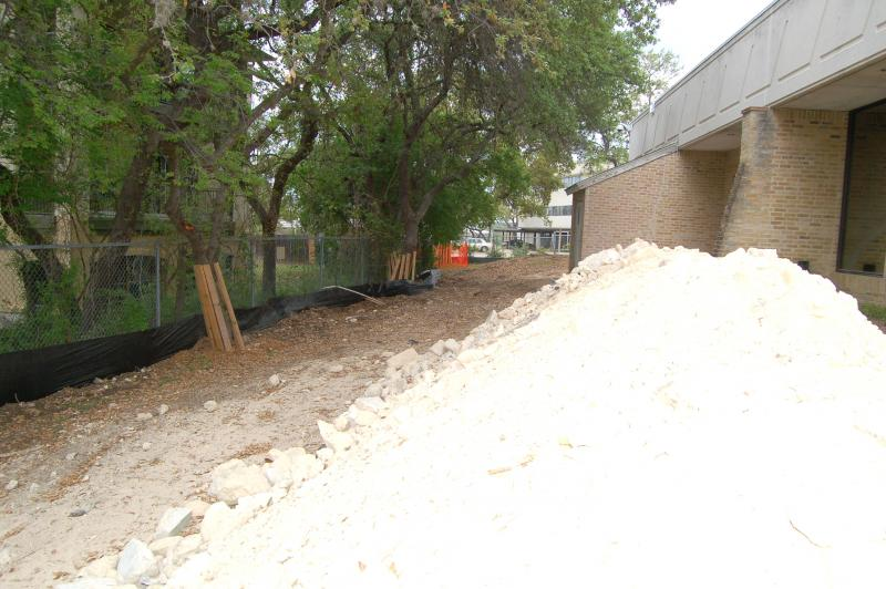 The garden and playground outside the northwest learning center is currently piled with dirt while the building is under construction.