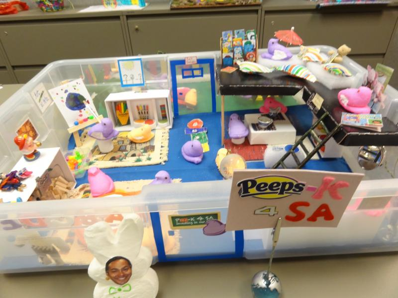 "Joanne Hernandez' diarama ""Peeps-K 4 SA,"" which she made for the Peeps contest at her work on Fort Sam Houston, pays homage to the mayor's early education initiative."