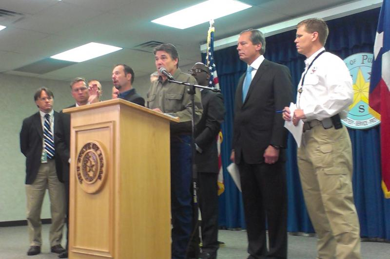 Gov. Rick Perry at a press conference addressing the explosion in West, Texas.