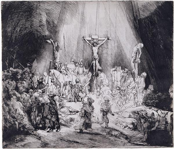 Rembrandt's depiction of the crucifixion, The Three Crosses.