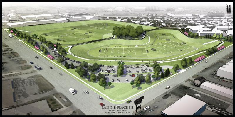 An artists rendering of the two detention ponds that will take the place of the former shopping center.