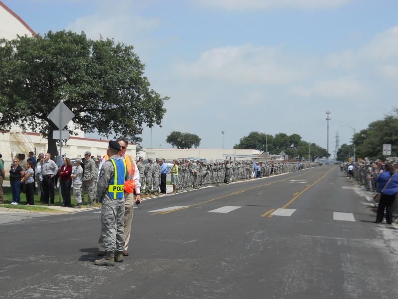 JBSA members lined 36th Street to pay tribute to Capt. Mark Tyler Voss of Boerne, killed in Kyrgystan on May 3.
