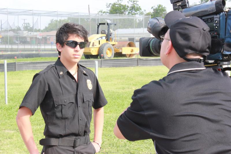 Pablo Chavarria, an Edison Fire Science Management student, talks to the press ahead of the exercise.