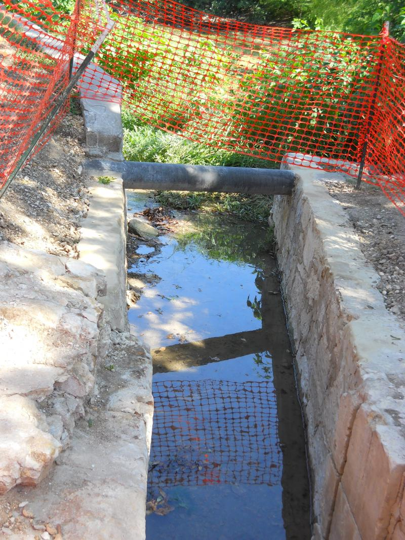 Part of the acequia adjacent to the recently uncovered portion of the Upper Labor Acequia. Sharply-squared masonry is indicative of the German tweaking in the 1800s of the Spanish-built dam in the previous century