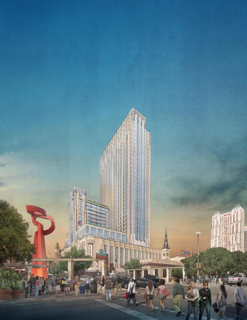 Rendering of the tower proposed for the Joskes building. The project was rejected at the Historic and Design Review Commission.