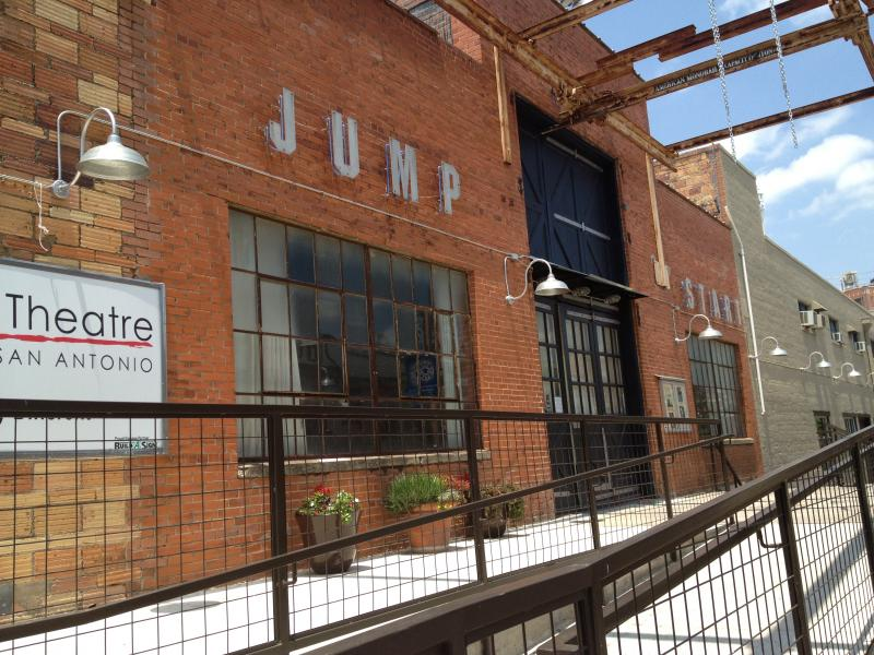 The facade of Jump Start in the Rue Bernard ally of the Blue Star Arts Complex in Southtown.