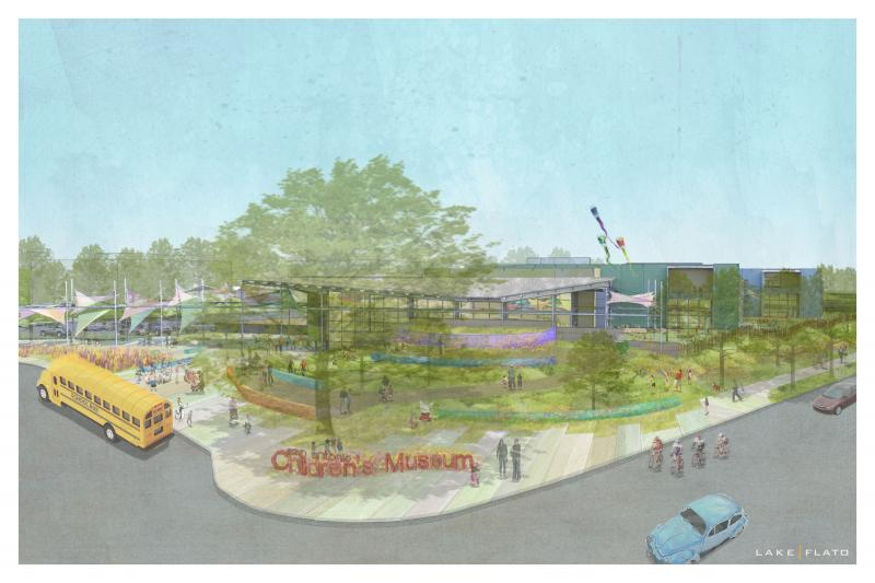 Rendering of the Children's Museum that will be located on Broadway and Mulberry.