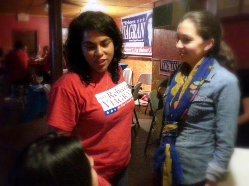 Rebecca Viagran talks to supporters on election night after she handily won the District 3 seat.