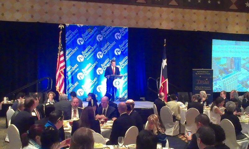 Gov. Perry speaks at the Austin Chamber of Commerce.