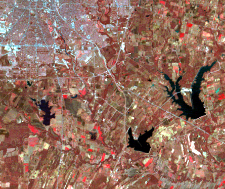 Landsat image of Southeast San Antonio in 1974.