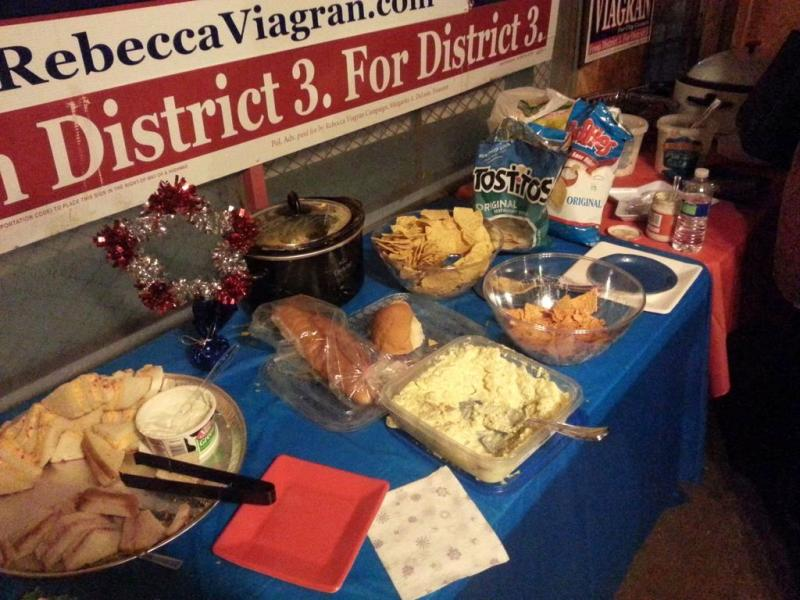 Supporters gathered on S. Presa on Saturday to eat food and celebrate Viagran's victory over Leticia Ozuna.
