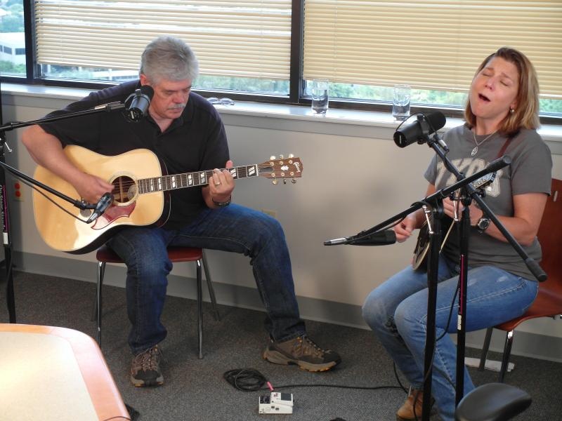 Lloyd Maines and Terri Hendrix, performing in the TPR studios.