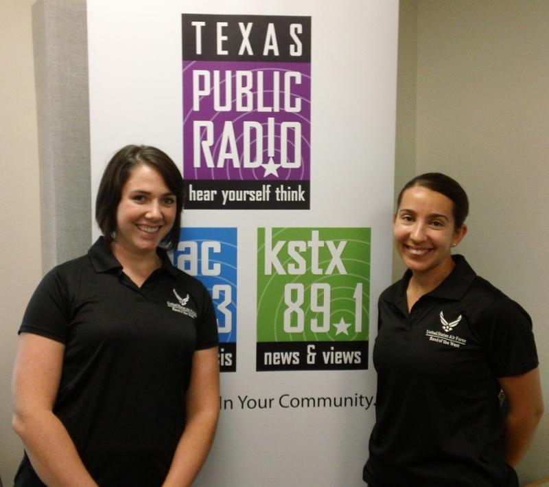 Airmen Ainsley Davis and Jennifer Daffinee at the TPR studios