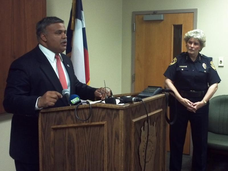 New Bexar County Jail Administrator Raul Banasco with Sheriff Susan Pamerleau.