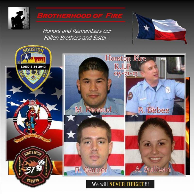 Houston firefighters who died fighting a blaze Friday, May 31, 2013, are remembered today at Reliant Stadium in Houston.