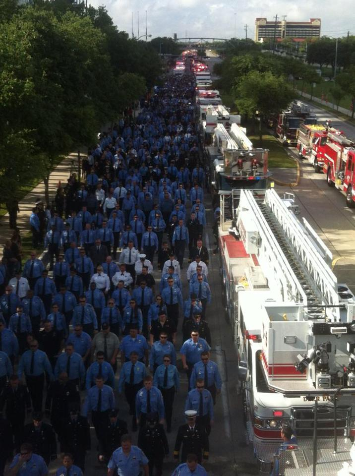 Firefighters join together to remember the four who died Friday, May 31, 2013