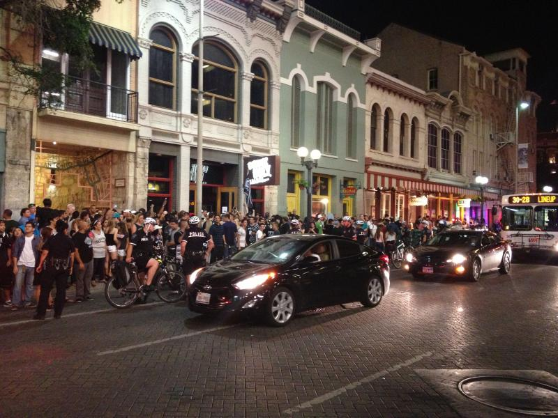 Spurs fans gather outside of Coyote Ugly on Commerce Street after a crushing defeat in Game Seven of the NBA Finals.