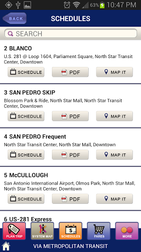 The Schedules menu shows you all the routes and allows you to see the schedule, download the PDF, or view it on a map.