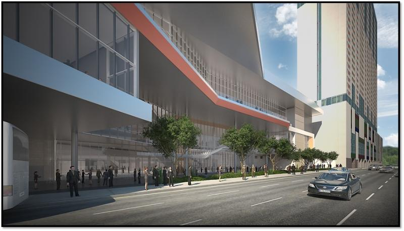 Rendering shows the north portion of the new convention center on Market Street.