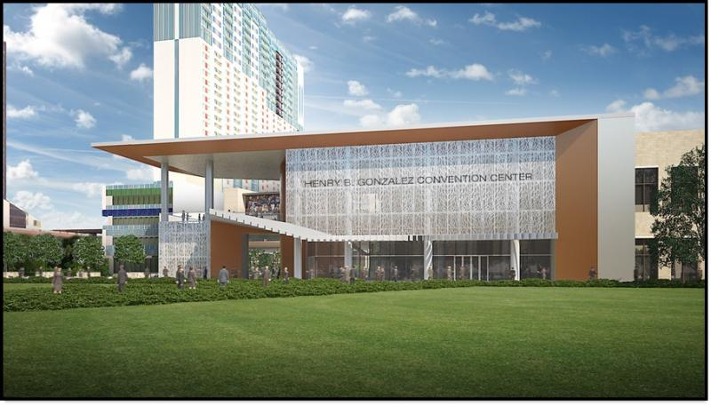 West view of the convention center as depicted by renderings, seen by the city council this week.