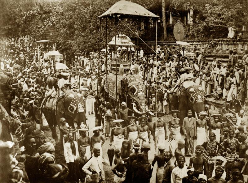 A photograph of the Esala Perehera festival, taken around 1885.