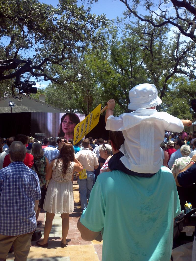 Abbott supporters of all ages were prepared for a hot day -