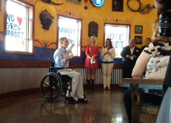 Greg Abbott addresses supporters at a rally in McAllen on July 15, 2013.