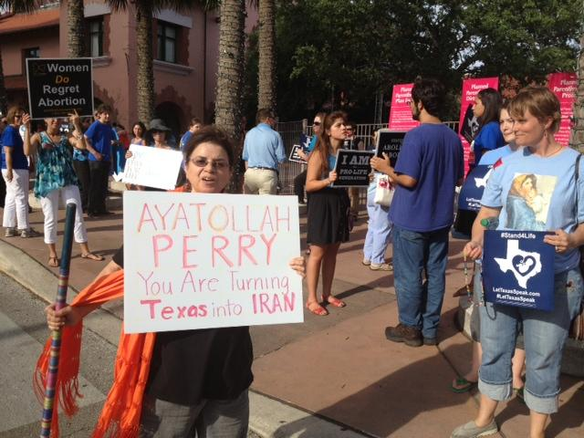 Protesters on both sides of the abortion issue rally outside the Stand With Texas Women rally in San Antonio this summer. Abortion has been a heated issue this year as the legislature pushed through strict abortion clinic restrictions in the last session.